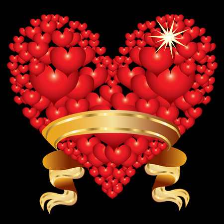 Abstract red heart with golden ribbon Stock Vector - 8595633