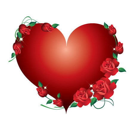 red rose border: Abstract red heart, framed with red roses  Illustration