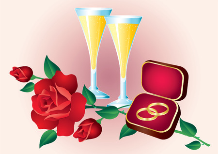 gold flute: Two wedding rings and red roses and champagne glasses.  Illustration