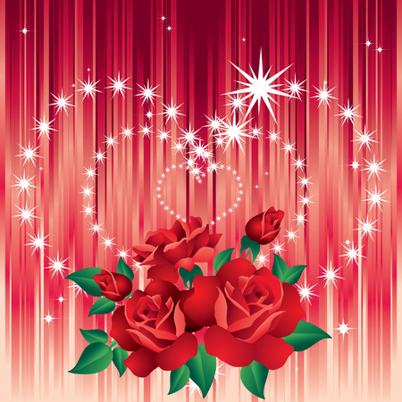 Background Valentines Day with roses and hearts of stars. Vector