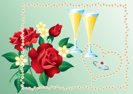 Ring, a bouquet of red roses, champagne glasses and pearls. Vector