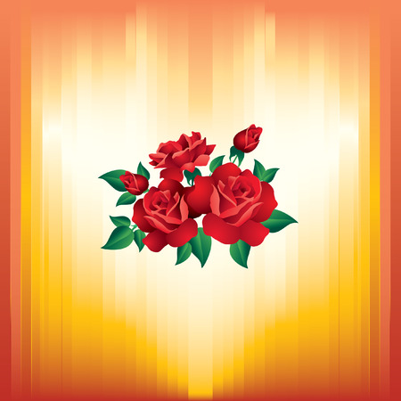 schematically: Background Valentines Day with roses and yellow-red stripes.