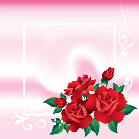 Abstract frame with an ornament and red roses  Stock Vector - 8638207