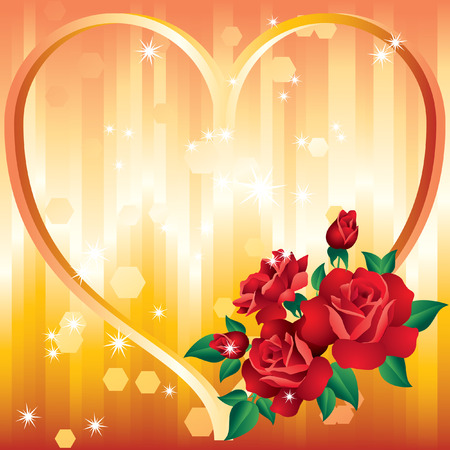 hearts and flowers: Background Valentines Day  Illustration