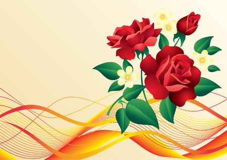 Roses rouges et fleurs blanches  Vecteurs