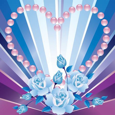 Background Valentines Day with blue roses, hearts and blue rays  Vector