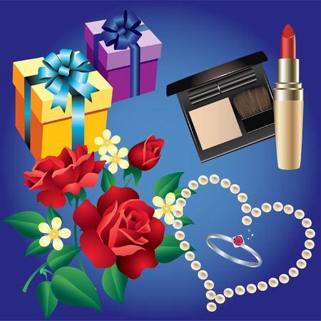 Ring, pearls, flowers, boxes of gifts lipstick and powder Vector