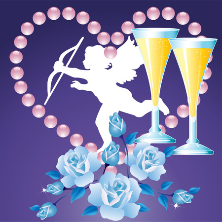 Background Valentines Day with blue roses, heart, the silhouette of an angel and glasses of champagne.