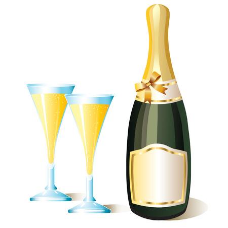 bollicine champagne: Una bottiglia di champagne e due bicchieri  Vettoriali