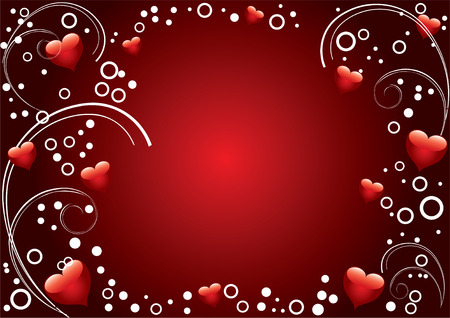 Background Valentines Day with ornaments and hearts on a red background.