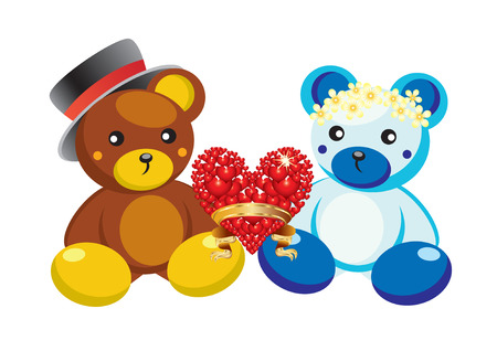 Two teddy bears and red heart Vector