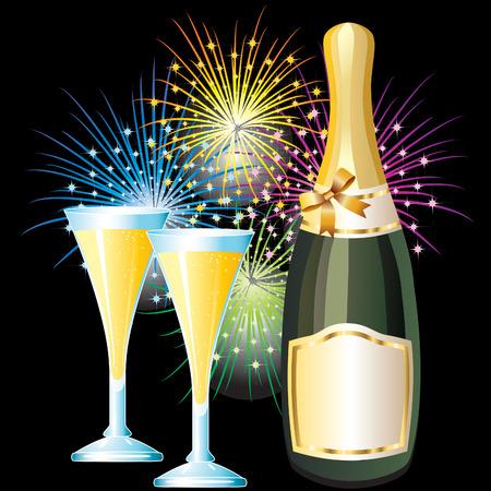 botella champagne: Una botella de Champaña y dos vasos  Vectores