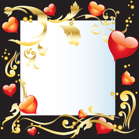 Background Valentines Day with a white sheet, ornaments and hearts Vector