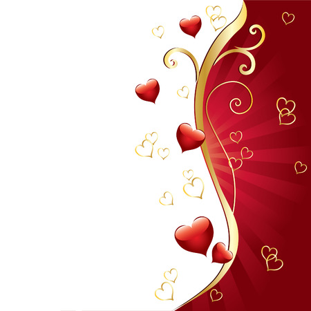 Background Valentines Day with ornaments and hearts Illustration
