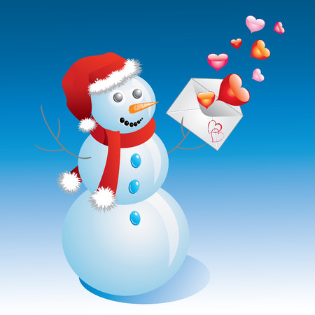Snowman with an envelope and hearts  Vector