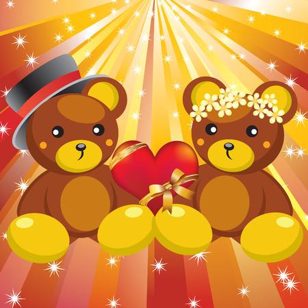 teddy bear love: Two teddy-bears and red heart