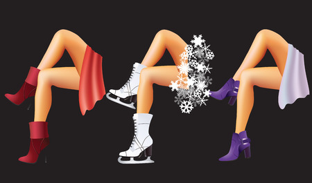 Womens feet in shoes and skate on a black background.