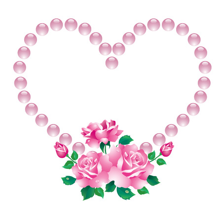 Abstract heart with a bouquet of pink roses with green leaves. Vector