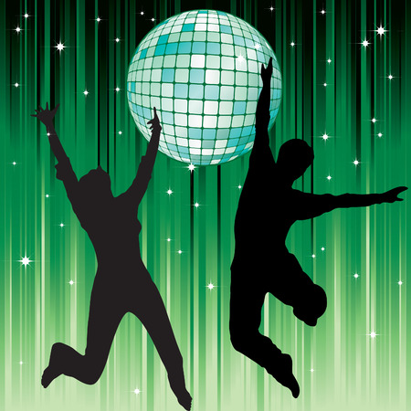 Disco ball and the silhouettes of dancing couples in the background of green stripes and stars.  Vector