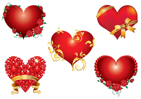 red rose border: Five of abstract hearts with roses, ornaments and gold ribbons.  Illustration