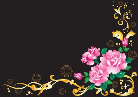 Pink roses and golden ornament on a black background. Illustration