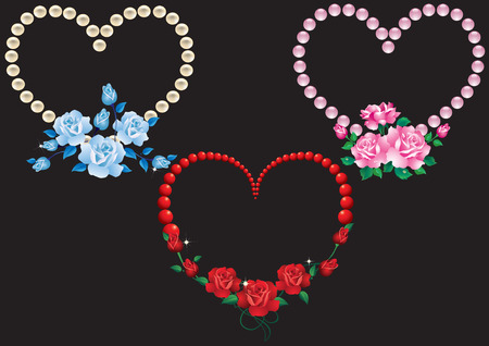 Three abstract heart with red, pink and blue roses. Vector