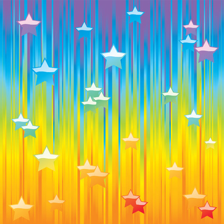 creative arts: Abstract rainbow background with colorful stars.