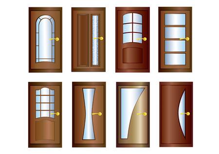 Acht houten deuren met glas en goud deurknoppen.