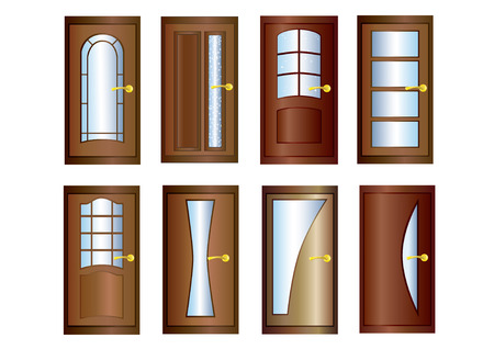 Eight wooden doors with glass and gold doorknobs.