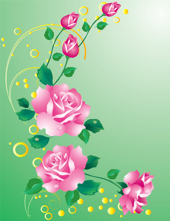 Abstract background with ornaments and pink roses Illustration