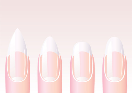manicure: Four nail different shapes