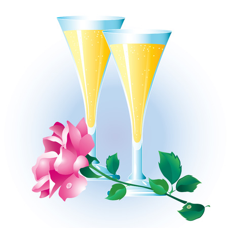 condensation on glass: Pink roses with green leaves and two glasses of champagne. Illustration