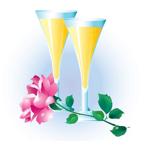 flet: Różowy róż z zielonymi liśćmi i dwie szklanki szampana.