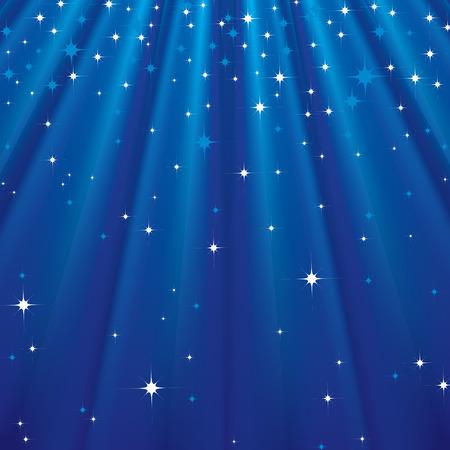 照らす: 星と青い光線と抽象的な背景。