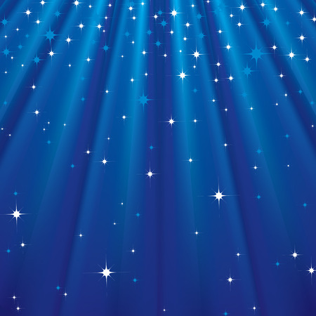 Abstract background with stars and blue rays.