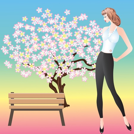 Beautiful Girl around the benches and flowering trees  Vector