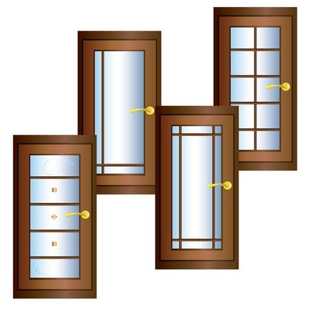 doorframe: Puerta de madera con decoraci�n de oro, vidrio, y se encarga de