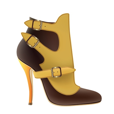 buckles: Female yellow shoes with buckles on a white background  Illustration