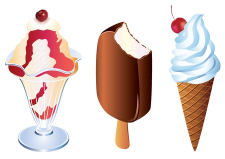 Ice cream Three servings of ice cream in a bowl, chocolate and cream cone  Vector