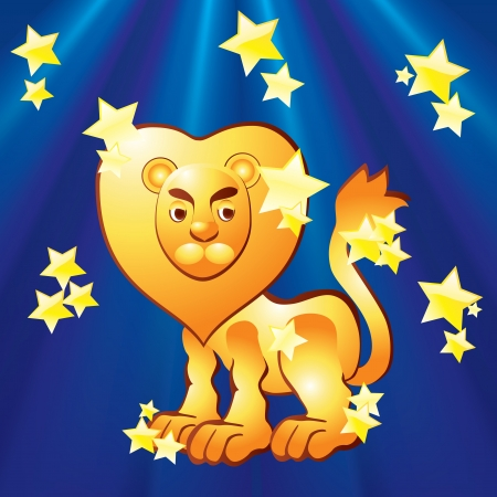 Zodiac sign - Leo Zodiac - Leo on the background of the rays and stars  Vector