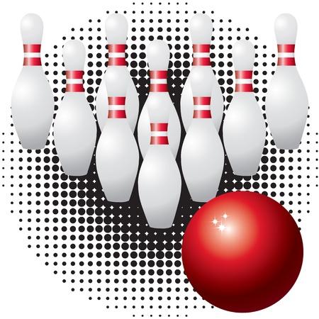 quilles: Skittles Skittles et bille de bowling et boule de bowling rouge contre la communaut� noire