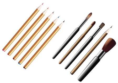 Pencils and brushes Coloured pencils and brushes on a white background  Vector