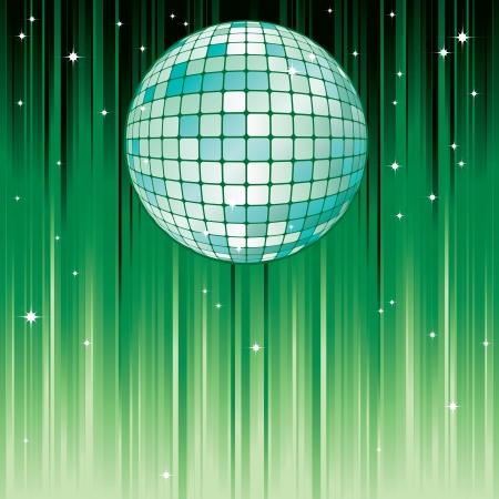осветительное оборудование: Диско-шар диско-шар на зеленый фон с полосами и звездами Иллюстрация