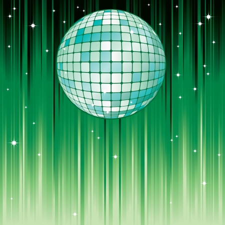 disco symbol: Disco-ball Disco-ball on the green background with stripes and stars  Illustration