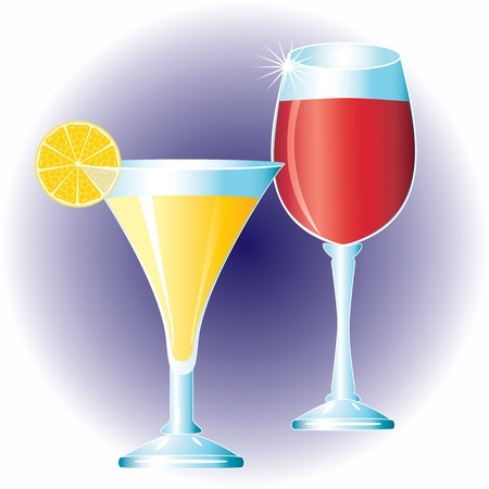 Glasses with drinks Two glasses of wine and martinis  Vector