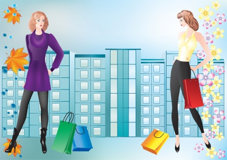 Girls with shopping Two girls with shopping on the background of the urban landscape  Vector