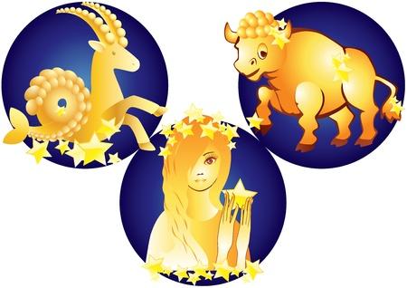 Tekenen van de sterrenbeelden - Stier, Maagd en Steenbok Vector Illustratie