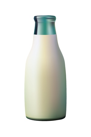 pasteurized: bottle of milk Vector glass bottle of milk on a white background