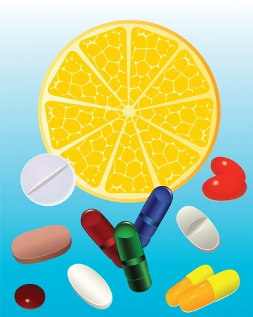 Slice lemon and pills Slice lemon and tablets, pills, capsules  Vector
