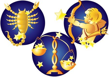 Signs of the Zodiac Signs of the Zodiac - Libra, Scorpio, Sagittarius  Vector